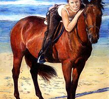 Arabian Horse On The Beach Portrait by Oldetimemercan