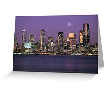 Seattle, Washington city skyline at night Greeting Card