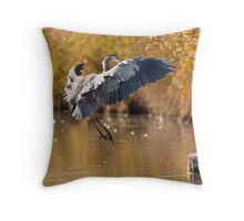 Great Blue Heron Landing Throw Pillow