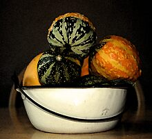 autumn gourds/enamel bowl by Lynne Prestebak