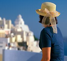 Woman in Hat, Santorini Island (Greece)  by Petr Svarc
