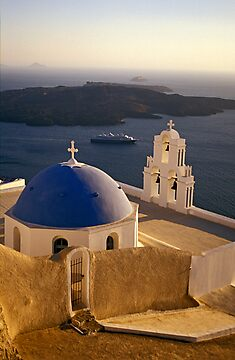 Greek Church with Cruise Ship at Sea, Santorini (Greece) by Petr Svarc