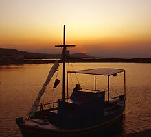 Crete Boat Sunset by Charlotte Harold