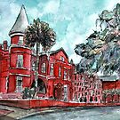 Forsyth Mansion Hotel Savannah Georgia watercolor painting by derekmccrea