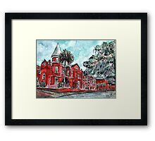 Forsyth Mansion Hotel Savannah Georgia watercolor painting Framed Print