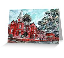 Forsyth Mansion Hotel Savannah Georgia watercolor painting Greeting Card