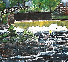 fly fishing the chattahoochee river painting by derekmccrea