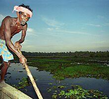 Old Boat-Man, Kerala Backwaters, India  by Petr Svarc
