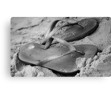 silver brazilian sandals of strips flipflops Canvas Print