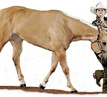 Palomino Quarter Horse Showmanship Portrait by Oldetimemercan