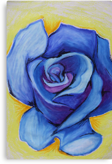 Blue Rose - Oil Pastel by Debbie  Widmer