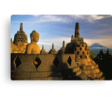 Buddha Statue and Stupas, Borobudur  Canvas Print