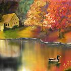 Fall Pond with duck by tnlem