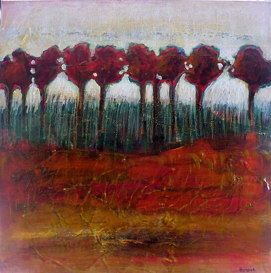 Fall Evening in the Forest, mixed media on canvas by Sandrine Pelissier