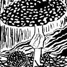 Fungi Lino Cut. II (Amanita muscaria) by Esther's Art and Photography