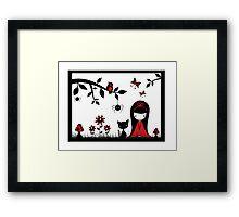 Little Red Ribbon Head Framed Print