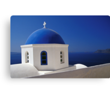 Whitewashed Church with Blue Dome, Santorini Canvas Print
