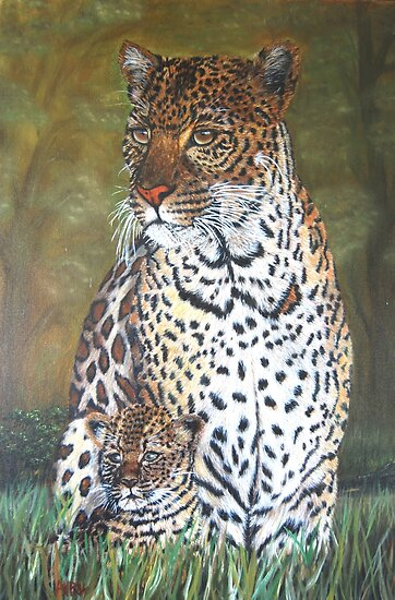 """Leopard and Cub"" - Oil Painting by Avril Brand"
