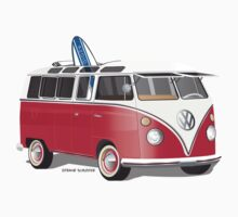Split VW Bus Red with Surfboard by Frank Schuster