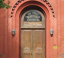 The doorway of the First Presbyterian Church  by bluegorilla