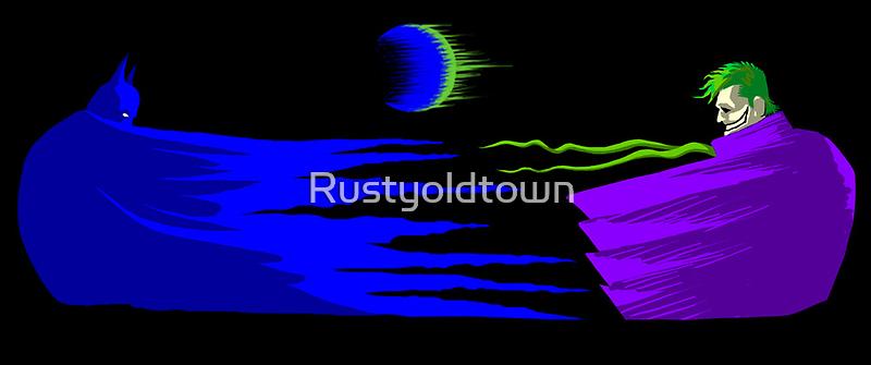 Batman v Joker under the moon by Rustyoldtown