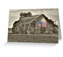Old Barn - Old Glory Greeting Card