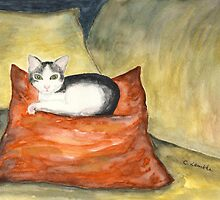 Kitten on Silk Cushion by Caroline  Lembke