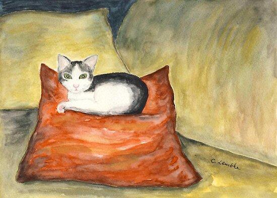 Kitten on Silk Cushion by Caroline  Lembke