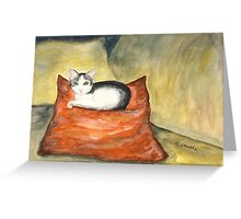 Kitten on Silk Cushion Greeting Card