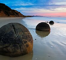 Dawn at the Moeraki Boulders by ianwoolcock
