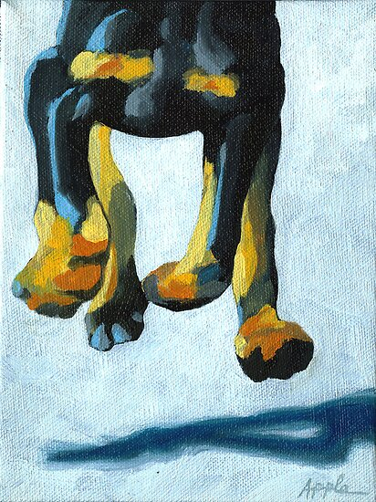 All Fours - dog painting by LindaAppleArt