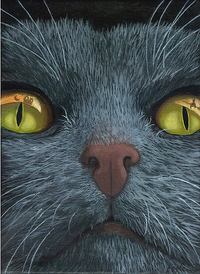 Cat Visions - cat portrait oil painting  by LindaAppleArt