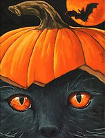 Bats in the Belfry? - halloween painting by LindaAppleArt