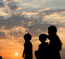 learning and sunset by Dinni H