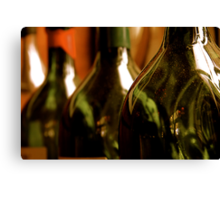 Three Green Bottles Canvas Print