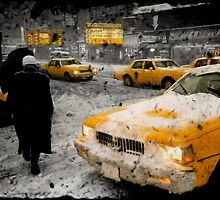 Time Square - storm winter 93 by Sonia de Macedo-Stewart
