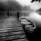 Loch Ard Jetty Black and White by David Mould