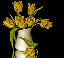 Yellow Tulips in White Vase by Sue Smith