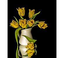 Yellow Tulips in White Vase Photographic Print