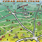 Cedar Park Texas Cartoon Map by Kevin Middleton