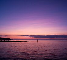 Purple Sunset Cedar Beach Mount Sinai Harbor by Jay Morena