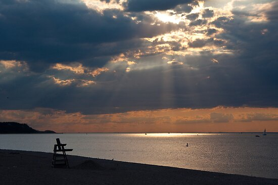 Light Rays over Long Island Sound from Cedar Beach by Jay Morena