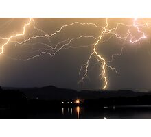 Rocky Mountain Foothills Lightning Storm Photographic Print
