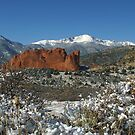 Pikes Peak and The Garden of the Gods under blanket of Snow by Bob Spath