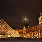 Louvre Under a Full Moon by April Anderson