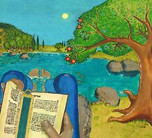 a picture of a man reading Psalm 1 in Hebrew Bible by Artilan