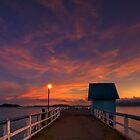 Orange Wharf Dusk by Ken Wright