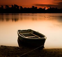 Boat At Dawn, Cropston Reservoir by Andy Stafford