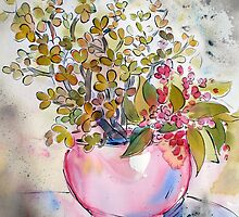 Jade and Begonia Pot by Joy Engelman