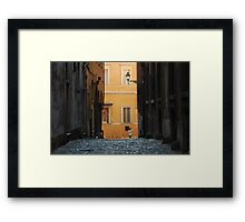 Orange Wall in a Roman Streetscape Framed Print
